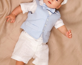 09f577df81f16 Baby boy linen suit Ring bearer outfit Boy baptism outfit Baby newsboy  outfit Wedding party boy ...