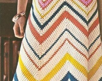 Vintage 1970s Boho Dress Chevron Crochet Maxi Sun Beach Dress Pattern PDF 7402 Bust 34 36 70s S M Small Medium