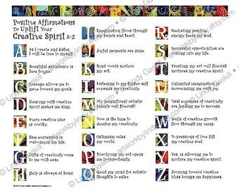 On Sale - Inspirational Words Digital Download. Positive Affirmation Digital Download. Positive Words Collage Sheet. Creative Spirit Words.