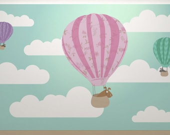 Dogs in hot air balloons baby nursery art print