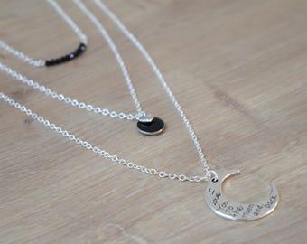 Silver multi strand moon necklace