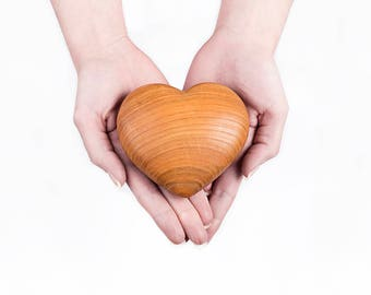 Large Handmade Wooden Ashes Heart- Bella