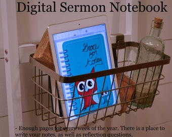 Digital Sermon Notebook - Turquoise and Red Owl