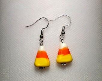 Halloween Candy corn cute lampwork glass bead earrings