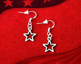 50% SALE July 4th Jewelry..Silver Star Earrings..American Flag Earrings..USA Jewelry..Patriotic Jewelry..Independence Day..FREE Shipping