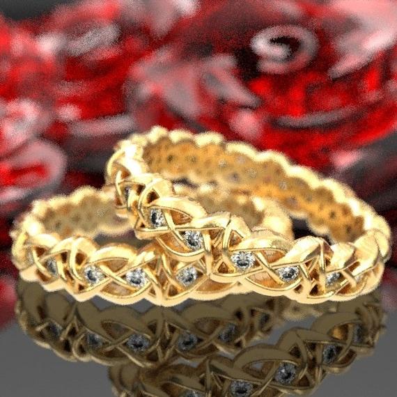 Set of Celtic Knot Rings, Moissanite Wedding Bands in 10K 14K 18K Gold, Palladium, Platinum Ring in Your Size 1125