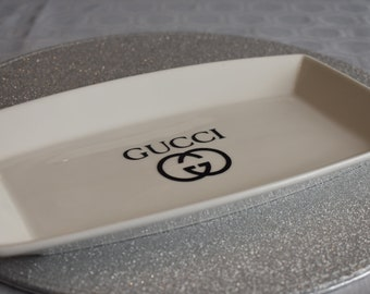 Gucci inspired white porcelain tray