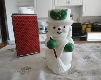 Avon Mr. Snowlight Bayberry Fragrance Candle Vintage Boxed Christmas Decoration Snowman Collectible