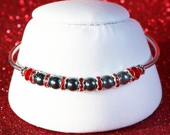 Black Pearl Swarovski Crystal and Sterling Silver Bracelet