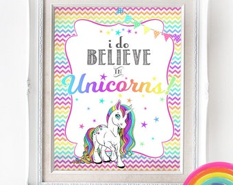 Unicorn Party Poster - INSTANT DOWNLOAD - I do Believe / Rainbow / Girls Birthday / Baby Shower / Printable Sign