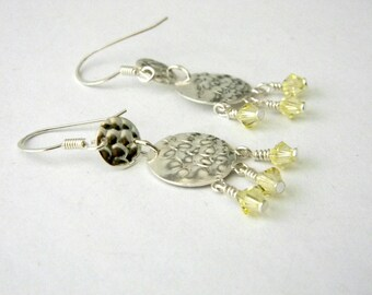 Sterling Silver Hammered Circle Drop Earrings Chandelier Earrings with Yellow Beads