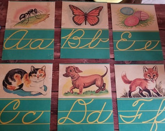 Vintage Cursive Alphabet Cards and Number Cards
