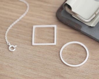 Round & Square Necklace 925 Sterling Silver Long Necklace