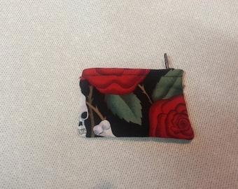 Small Rose n Skull Change/Jewelry Purse