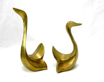vintage brass swans brass book ends brass swan decor art nouveau swans figural swan decor wedding decor mid century modern art deco