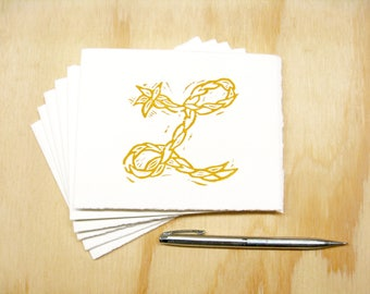 Letter L Stationery - Personalized Gift - Set of 6 Block Printed Cards