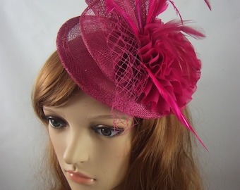 Rose Fuchsia Pink Disc Sinamay Ruffle Fascinator - Occasion Wedding Races Hat