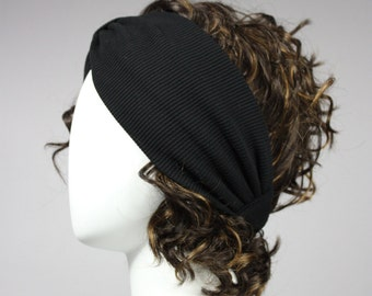 Black Turban, Headband, Stretchy Turban, black headband