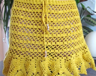 Mini Skirt Crochet Beach mustard,Beach Pareo,crocheted exercise skirt, crochet  skirt,Sexy crochet skirt