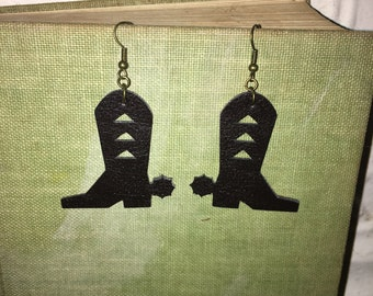Handmade Faux Leather Cowboy Boot Earrings