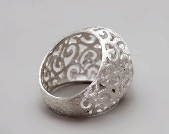 Silver Filigree Ring, Sterling Silver Ring, Unique Ring,Organic Ring,  Victorian Ring, Vintage Style Ring, Gypsy Ring, Silver Lace Ring