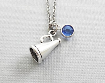 Megaphone Necklace, Cheerleader Necklace, Cheer, Pep Squad, BFF, Friend Birthday Gift, Silver Jewelry, Swarovski Channel Birthstone Crystal