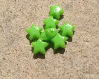 Set of 55 plastic green star beads