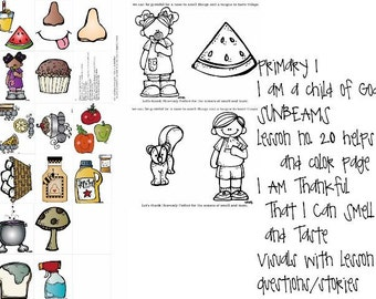 lds primary sunbeams manual 1 lesson 20 I Am Thankful That I Can Smell and Taste lesson visuals helps plus color page
