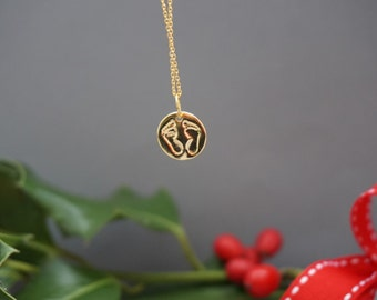 Baby feet necklace. New baby gift. Newborn gift. 24 karat gold plated silver. Kids necklace.