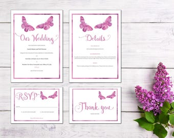 Butterfly Printable Wedding Invitation Set