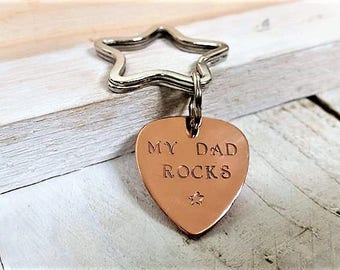 My Dad Rocks, Guitar Pick, Plectrum, Metal Keyring, Copper, Gift For Him, Gift For Dad, Father's Day Gift, Birthday, Family, New Dad Gift