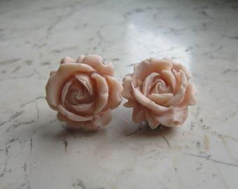 Fimo Polymer Clay Earrings-wedding; Vintage-Earring Flesh light pink flower flowers