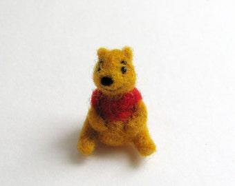 Pooh needle felted miniature