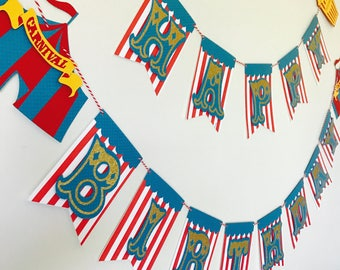 Carnival Happy Birthday Banner, Circus Party Happy Birthday Banner, Carnival Birthday Sign