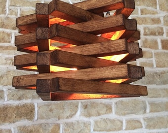 rustic ceiling light, rustic light fixture, rustic wood, housewarming gift, wooden lamp shade, light pendant