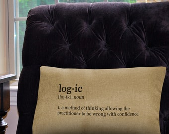 """Logic Definition Pillow Cover - 12"""" x 18"""" - Zipper Enclosure - Machine Washable- Geeky Pillow Cover"""