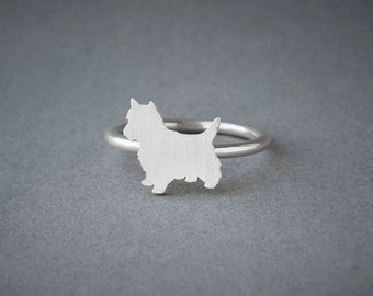 YORKSHIRE TERRIER RING / Yorkie Ring / Silver Dog Ring / Dog Breed Ring / Silver, Gold Plated or Rose Plated.
