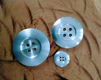 Set of 3 small, medium and large, aluminum buttons knit, button hook, button sewing, curtain, purse ornament ornament