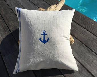 "Vintage ecru and blue cotton pillow cover ""anchor"""