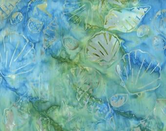 BATIK - Seashells: Teal, Moss Green Quilt Fabric (By the Half Yd)