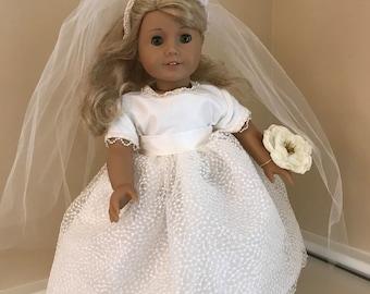 "18"" inch doll wedding dress that fits  American girl doll clothing"