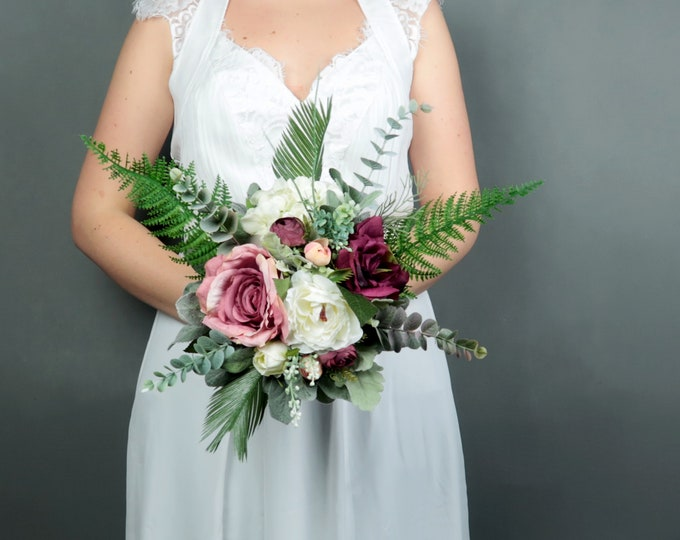 Bridesmaids bouquet Boho wedding burgundy blush white small greenery ferns artificial silk flowers realistic