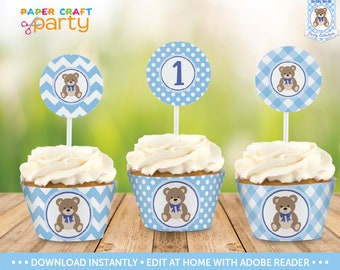 Teddy Bear Cupcake Wrappers & Toppers - Printable Cupcake Wraps and Circles - Blue - Instant Downloading Edit and Adobe Reader TB10
