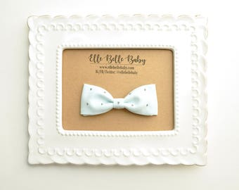 Baby Blue & Crescent Bow Tie - Baby Bowtie - Ring Bearer Tie - Wedding Bow tie - Toddler Bow tie - Clip on Bowtie