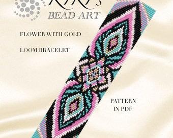 Bead loom pattern - Flower with gold LOOM bracelet pattern in PDF instant download