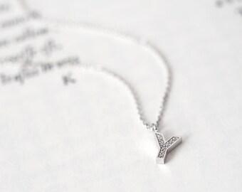 Initial Y Necklace Silver925