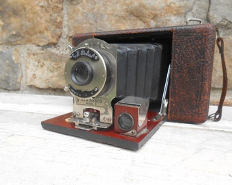 Antique Camera no. 4 Ansco Model D Folding Bellows Camera Photo Prop Pat. 1901 Photographer Gift Original Leather Handle Cyko Automatic Lens