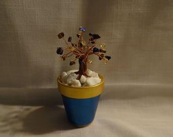 Mini blue/gold copper tree