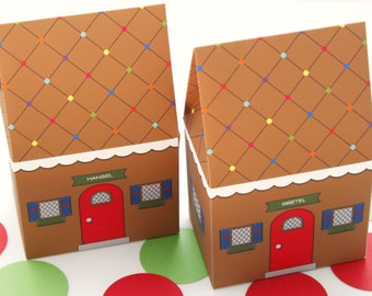 Gingerbread House Favor Box : DIY Printable PDF - Instant Download