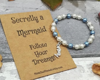 Mermaid Bracelet, Mermaid Beaded Bracelet, Mermaid Pearl Bracelet, Mermaid Gift, Mermaid Jewellery, Mermaid Charm Bracelet,Secretly Mermaid